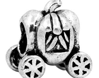 5 Silver Pumpkin Carriage Car European Charm Beads 12mm x 11mm -1W