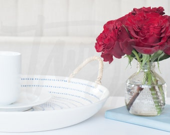 Red Roses and Coffee | Styled Stock Image, Full Size