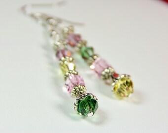 Swarovski Crystal Earrings, Pastel Crystal Earrings, Delicate Earrings, Drop Earrings, Feminine Earrings, Romantic Earrings, Gift for Her
