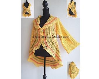 PATR1092 - Xyra Crochet-pattern - Circle waistcoat - circle vest with sleeves - (Dutch & English-US)