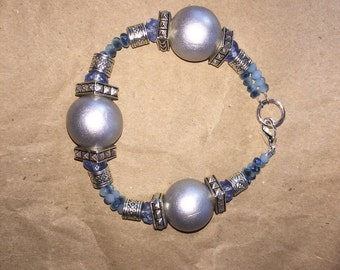 Silver and blue bracelet