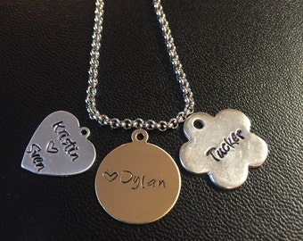 Hand Stamped Personalized Mixed Metals Necklace.