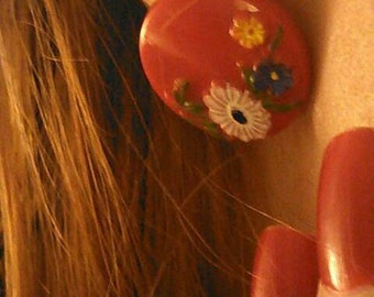 60's Mod red hand painted daisies earrings