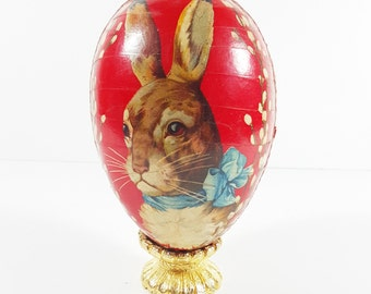 Antique German Red Paper Mache Easter Egg Candy Container with Bunny Rabbit in Blue Bow. Vintage Easter Decorations.