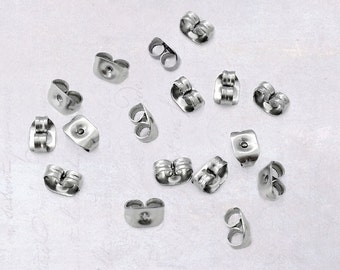 100 x Stainless Steel Earring Backings 0.6mm Hole Butterfly Clutches Earnuts