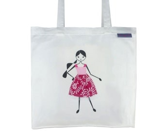 SALE !!! - Tote Bag,  Library Bag, Shopping Bag - Girl with Pink Dress