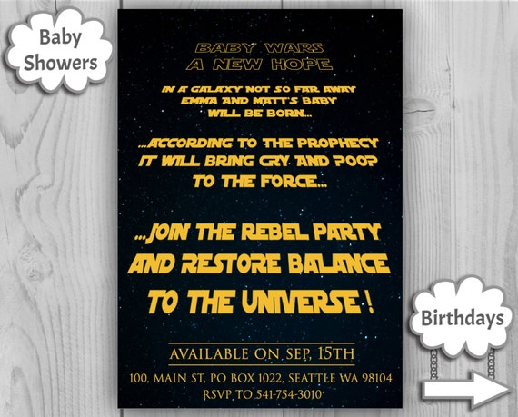 ... Star Wars Baby Shower Invitation, Star Wars Invite   Customizable  Digital Invitations By Printadorable