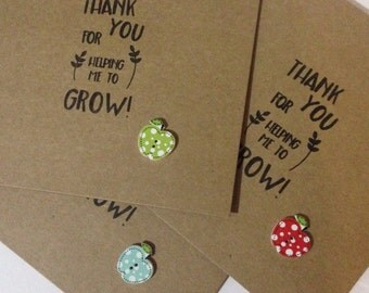 Teachers thankyou card, thankyou for helping me to grow, teachers thankyou card, thankyou card, teachers Apple card, hand stamped card
