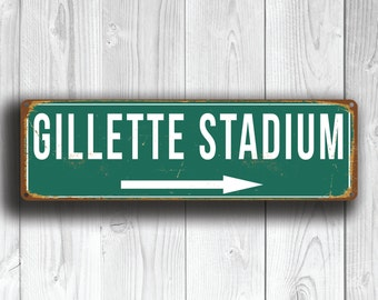 GILLETTE STADIUM Signs, Vintage style Gillette Stadium Sign, Home of New England Patriots, Patriots Sign, Football Gifts, Signs