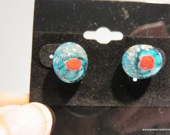 Small fused glass blue and red posts