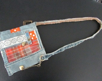 Small grant jeans recycled for girl/small purse for young girl