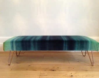 Upholstered bench/ ottoman/ footstool with hairpin legs