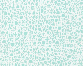 Fabric 100% Organic-Cloud 9- Kindred-Turquoise White #1991-03