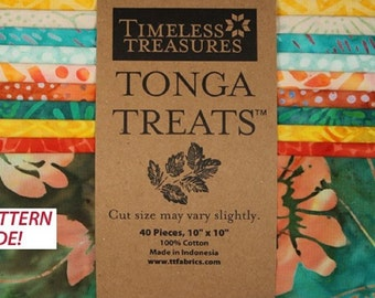"Tonga Treat Pack-Batik Hand dyed Cotton Fabric 10"" Squares-Salsa- Brights 40 Squares-Timeless Treasures"