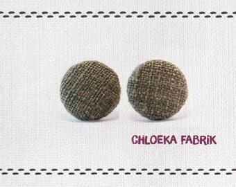 Earring - Khaki linen fabric