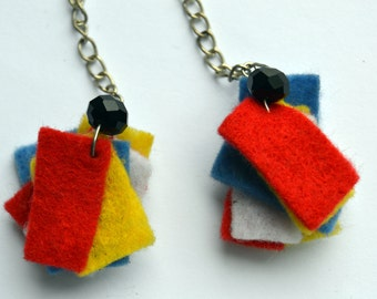 Mondrian Earrings, Felt Earrings, Bright Colours,  De Stijl Jewelry, Dutch Artis, Red Blue White Yellow Black, Composition II