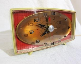 Westclox Ellsworth Red Copper Gray electric alarm clock Midcentury 1950s