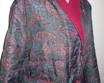 SALE 25% OFF Vintage mens Robe dressing gown smoking jacket by St Michael Silky paisley print with fleece lining size medium