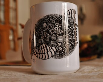 Doodle Black and White Coffee Mug, gift, drawing, art, tangle, lines, contrast, sublimation mug
