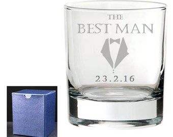 Personalised Engraved Wedding Whisky tumbler, Best Man, Usher, Father of the Groom, In Blue Gift box