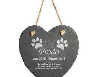 Personalised Engraved Hanging Slate Pet Memorial, 2 paw prints