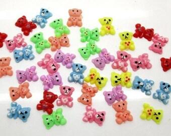 50 Piece Mixed Mini Bear Sprinkles Cabochons - Kawaii Decoden Flatback Resin (TDK-C1178)