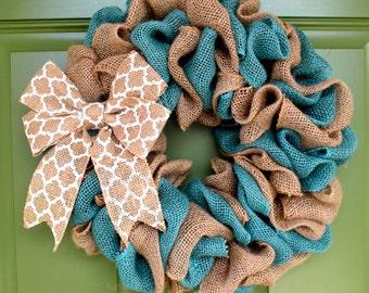 Summer Wreath, Summer Burlap Wreath, Chevron Wreath, Monogram Wreath, Spring Burlap Wreath, Spring Wreath, Burlap Wreath, Teal Wreath