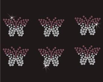 Purple Butterflies Rhinestone Iron On Transfer