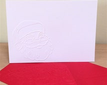 TRADITIONAL SANTA FACE 6 Embossed Cards (No.136) - Pack of 6 - Blank Cards - Christmas Cards - Thank You - Note Cards - Xmas Cards