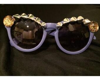 Pastel Purple OOAK Gem Spiked Sunglasses