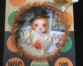 Vintage OOAK Kitsch HALLOWEEN Shadowbox/Diorama. Made in Japan Angel in Ben Cooper Wig box