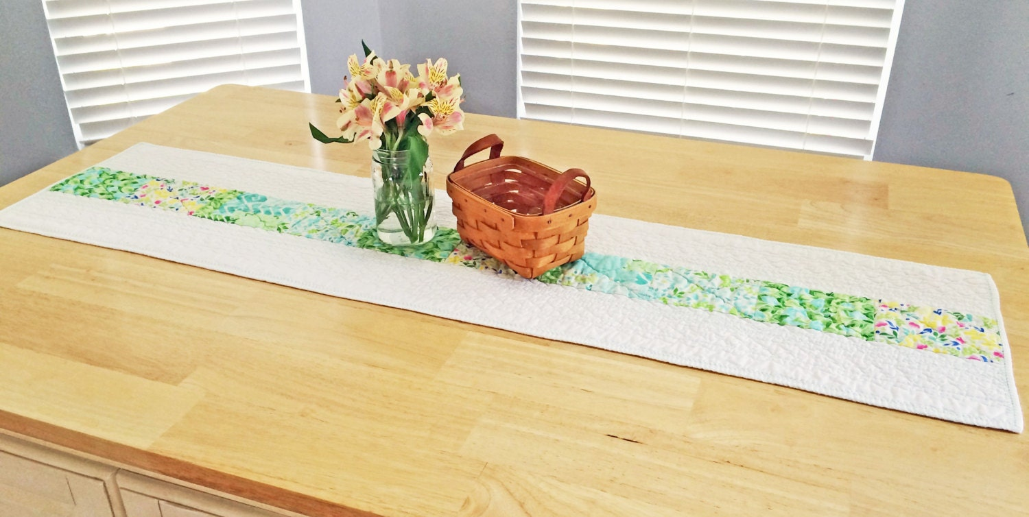 Quilted Table Runner Modern Table Runner By Fluffypuppyquilts