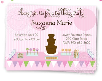 Chocolate Fountain Party Printable Invitation, Custom Chocolate Fountain Party Invitation, Printable Buffet Birthday Party Invitation, girls