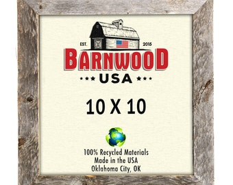 """Barnwood Rustic Wood Picture Frames 10x10"""", Weathered Gray, 1.25"""" Wide Frames, Farmhouse Decor"""
