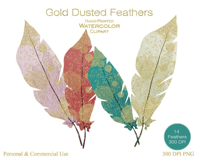 GOLD & WATERCOLOR FEATHER Clipart Commercial Use Clipart 14 Feather Graphics Gold Metallic Tribal Feather Clip art Gold Dust Watercolor