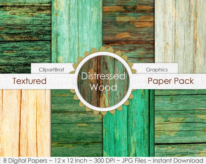 BARN WOOD Digital Paper Pack Commercial Use Digital Background Kelly Green Rust Wood Grain Digital Paper Painted Distressed Barn Wood Papers