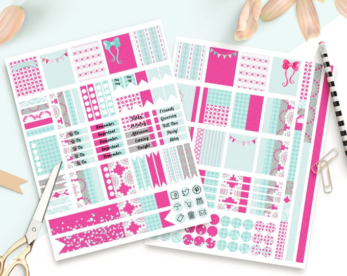 PLANNER STICKER Sheets Pink & Aqua Blue Banners With Confetti Printable Digital Stickers DIY Erin Condren Life Planner social media Icons
