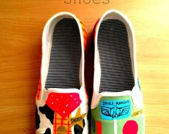 Buzz and Woody Painted Shoes