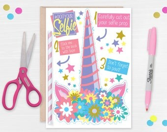 Photo Prop Unicorn Horn Card // Cute Unicorn Card // Selfie Prop Unicorn Birthday Card // Flower Crown Card // Birthday Card for Her
