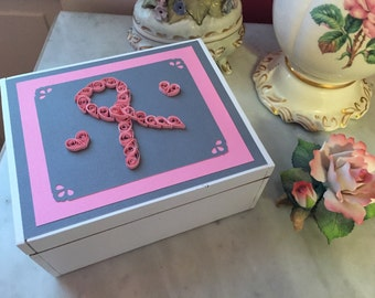 Breast cancer box, hope box, scripture box, cedar handmade box, quilled box, pink ribbon