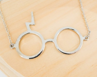 Harry Potter Inspired Deathly Hallows Lightning Scar Glasses Necklace