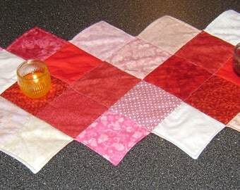 "Reversible Table Runner / Topper 19 x 57"" Red, Pink, White, Floral, Country Decor,"