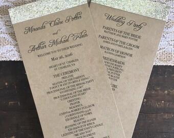 Glitter Wedding Programs - KRAFT & GOLD