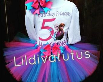 Frozen Tutu Set / Frozen birthday shirt / Frozen birthday outfit / Frozen sisters tutu set / Frozen Elsa and Anna tutu set / Frozen sisters