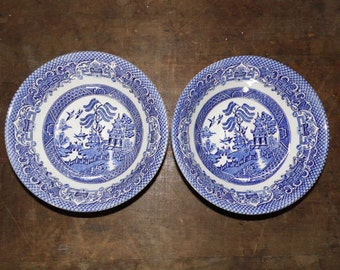 2 EIT England ironstone blue willow cereal salad bowls one stamped
