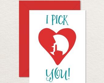 Funny Valentine / Funny Anniversary Card Printable / I Pick You A2 /  Funny Card for Boyfriend Girlfriend / Best Friend Card / Anatomy Card