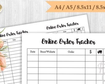 Online order tracker A5, A4, 8.5x11(Letter), 8.5x5.5(Half Letter) Printable
