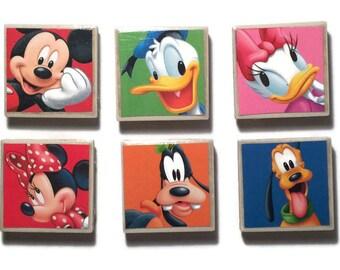 Disney Magnets set of 6 Mickey Minnie Donald Daisy Goofy Pluto