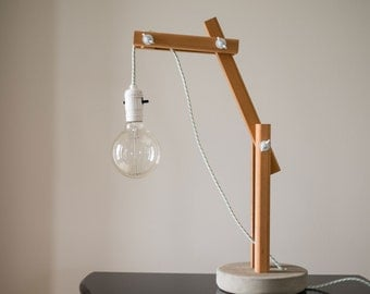 "Modular luminaire wood / Base concrete / Wooden modular lamp / Concrete / ""blanqueada esmeralda"""