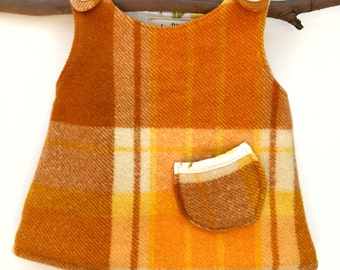 Warm wool cotton pinafore winter baby dress upcycled size 0